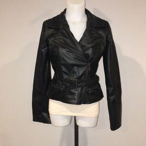 Faux leather moto jacket damage